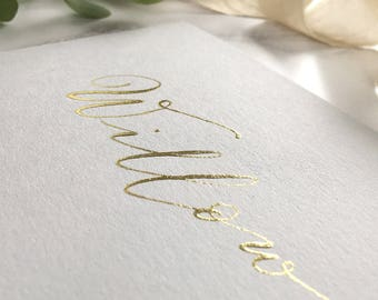 22 carat gold, handwritten calligraphy name commission