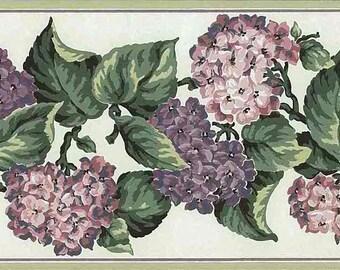 Purple Lilac Vintage Wallpaper Border Hydrangea Pink Cream Green CA16801 15 Feet