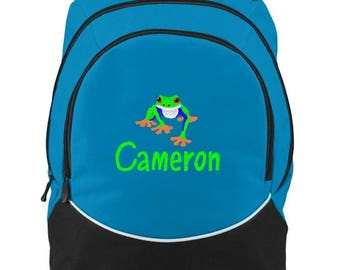 FREE SHIPPING - Red Eyed Tree Frog   Personalized Monogrammed Backpack Book Bag school tote  - NEW
