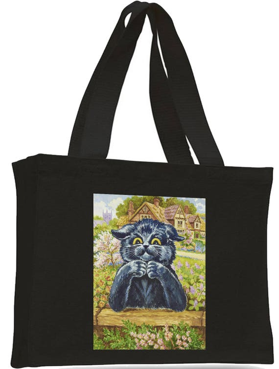 Louis Wain Thinking Cat Cotton Shopping Bag with gusset and long handles,