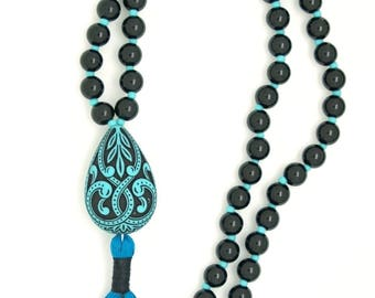 Victorian Filigree Prayer Beads, 108 bead, with black obsidian