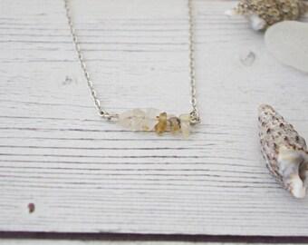 Rutilated quartz necklace - gemstone bar necklace, raw crystal layering necklace, raw stone jewelry, gold gemstone necklace * FREE SHIPPING