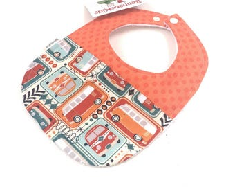 Boys Car Bib - Bibs For Boys - Toddler Bibs - Baby Shower Gift Boy - Retro Fabric Baby Bib - Toddler Boy Gift  - Baby Bibs - Boy Bibs - 14