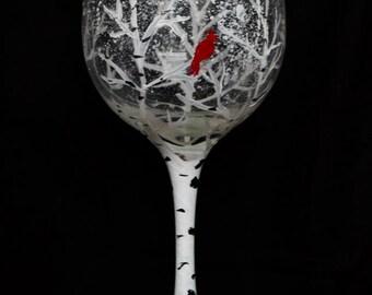 SnowFall Cardinal Wine Glass