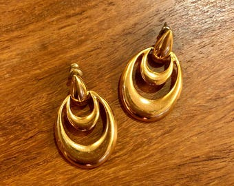 1980's gold tone drop post earrings