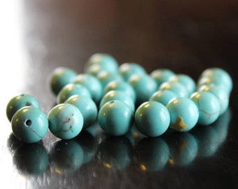 25 natural green turquoise beads, 8mm, round beads, 1 mm hole, smooth and round