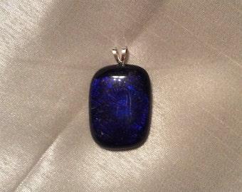 Deep Blue Fused Glass Pendant