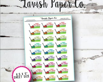 Mow The Lawn Doodle Planner Stickers by Lavish Paper Co. | Rainbow | for Erin Condren, inkWELL Press, Plum Paper Planner, Happy Planner