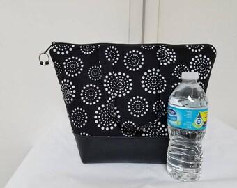 Insulated Lunch Bag,Vinyl Bottom,Black/White Lunch Bag,Nylon Liner,Zipper Pocket,Work Lunch Bag,School Lunch Bag, Washable Lunch Bag