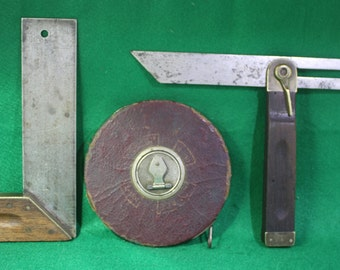 Vintage lot of (3)Wood  and Brass handled measuring tools 100 feet measuring tape,  square and bevel .