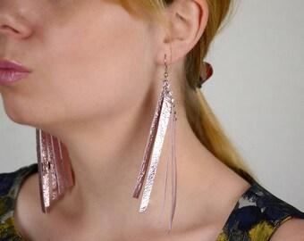 Pink fringe earrings, Extra Long earrings, Festive earrings, Leather jewelry, Boho gift for her, Metallic, Geometric, New year earrings gift