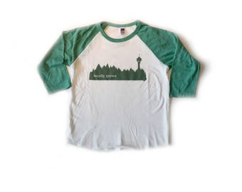Locally Grown Seattle Treeline- Youth Baseball Tee-Unisex-Organic Cotton Royal Apparel-baby clothes-pacific northwest-raglan
