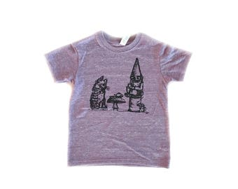 Youth Indifferent Tea Party T-Shirt-Crew neck-Royal Apparel Eco Tri Blend Tee-Organic cotton, recycled poly and rayon-gnome-cat-garden nome