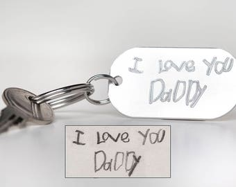 Engraved Signature or Handwriting Keychain - Memorial Keychain - Engraved Handwriting Keyring- Engraved Gift - Memorial Keyring