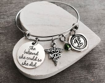 Silver Charm Bracelet, Nurse Gifts, Nursing Graduation, Nurse Practitioner, NP, Medical, She believed she could so she did, Gift