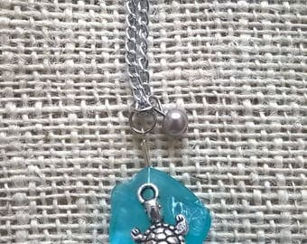 Turtle seaglass necklace