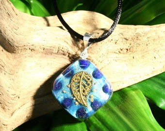 Lapis Lazuli Orgone Pendant - Leaf - Throat Chakra Third Eye Healing  - Handmade Healing Lightworker Jewelry - Small