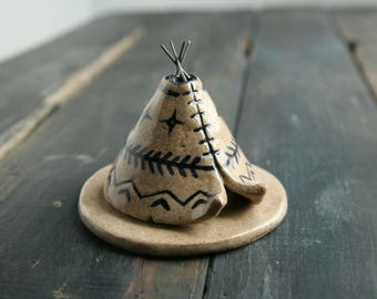 Incense Holder Teepee, Handmade Ceramic, Navy Blue Aztec Pattern Design, Stoneware Clay Pottery, Meditation Altar