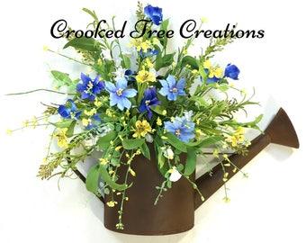 Summer Wreath, Summer Arrangement, Watering Can Wreath, Spring Wreath, Watering Can, Summer Door Decor, Wildflower Wreath, Blue Yellow