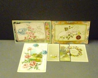 "4 Antique Floral ""Greetings"" Post Cards- 3 used - 1 unused"