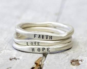 925 silver rings Set Faith love hope, personalized rings with engraving, stacking rings, organic shape