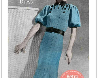 Late 1930s Early 1940's Dress Vintage Knitting Pattern - PDF Instant Download