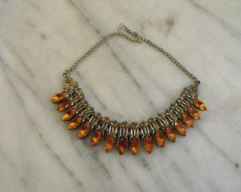 Choker Necklace with Orange Navettes and Tiny Chatons