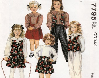 Girl's Lined Vest, Blouse, Pants and Shorts, Easy McCall's 7795 Sewing Pattern, Multi-Size 2, 3, 4, Uncut Vintage