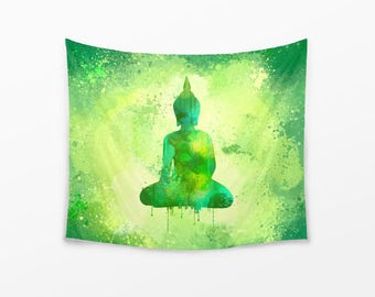 WALL TAPESTRY, watercolor Buddha wall hanging, large wall decor, Buddha tapestry, green zen Tapestry, meditation decor, fresh nature colors
