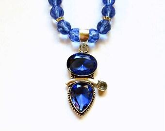 Tanzanite Necklace, Tanzanite Pendant, Sterling Silver Tanzanite Pendant and Glass Bead Necklace
