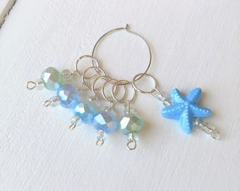 Knit Stitch Markers Set, Blue Progress Keepers, Starfish Row Marker, Set of 6 Place Markers, 10mm, Gift for Knitters