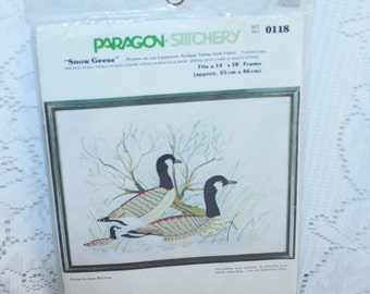 Vintage Paragon Stitchery Kit 0118 Snow Geese designed by June McClean Made in the USA