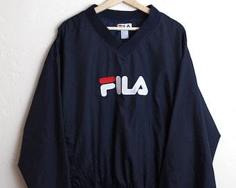 90s Vintage Spell Out FILA Nylon Pullover Nylon Jacket Windbreaker 90s FILA Vintage Streetwear Size XL