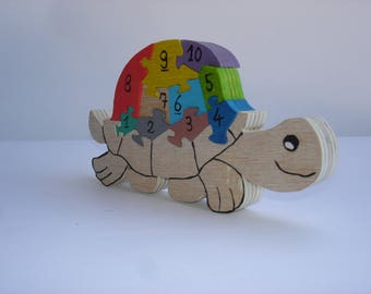 Turtle puzzle to learn numbers