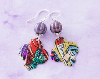 Colorful Moroccan Ogee Vintage Tin Earrings with Purple Czech Glass Beads and Silver Leaf Bead Caps, Bohemian Jewelry