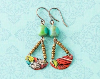 Colorful Half Circle Vintage Tin Earrings with Copper Seed Beads and Turquoise Czech Glass Beads, Vintage Tin Jewelry