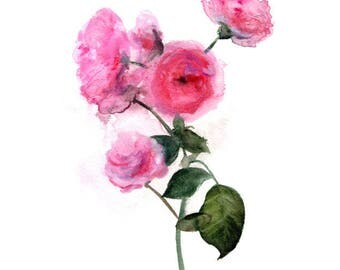 Pink floral art Herbarium, branchy. Art print.
