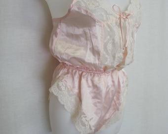 1970's Pink Romper Lace Onesie Teddy Lace Romper Bodysuit Lace Camisole Pink Lingerie