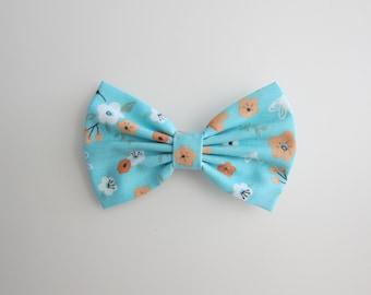 light blue hair bow : flower print