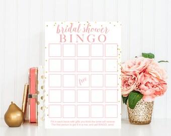 Bridal Shower Bingo Game, Pink Bridal Shower Games Printable, Bridal Shower Game Printable, Bridal Shower Printable Game, Bridal Decor BRS3