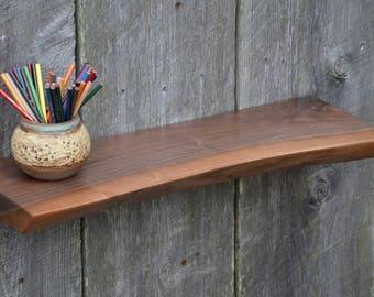 Natural Live Edge Walnut Ledge Shelf, Floating Shelf, Art Display
