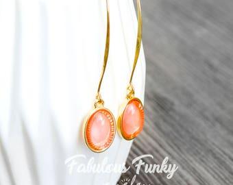 gold-plated gemstone earrings - peach