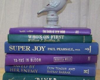 6 Vintage & Modern PURPLE BLUE GREEN Decorative Book Lot ~ Instant Library Decor