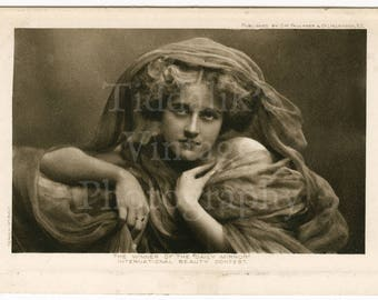 """The Winner of the """"Daily Mirror"""" International Beauty Contest Edwardian RPPC Postcard - G W Faulkner & Co. Posted 1908"""