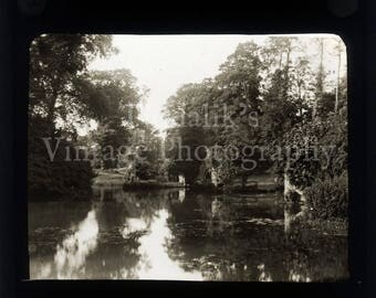 Antique Magic Lantern Glass Slide Light and Shade Idyllic River Scene Warwick in Warwickshire England - Vintage Projector Slide