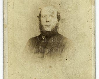 CDV Photo Victorian Bald Man, Neck Beard Portrait - Manchester England - Carte de Visite Antique Photograph