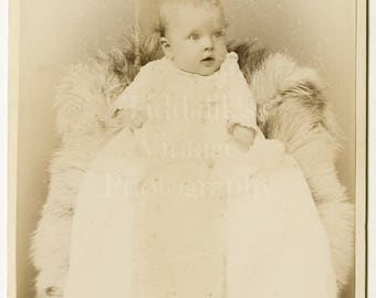 Cabinet Card Photo Victorian Cute Baby in Christening Gown Portrait - W. Curtis Jaylor & Co. Philadelphia USA - Antique Photograph