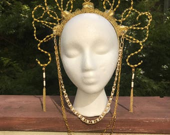Twisted Gold Metal Chain Headdress Crown