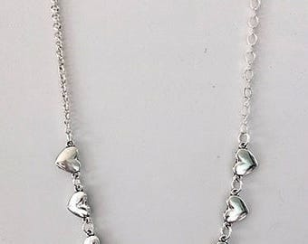 Silver Hearts Necklace - Tibetan Silver Hearts on Choice of Chain