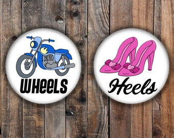 Wheels or Heels Gender reveal pins. Pink heel and blue motorcycle.